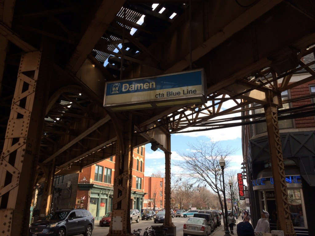 Damen train station: the stop for Wicker Park