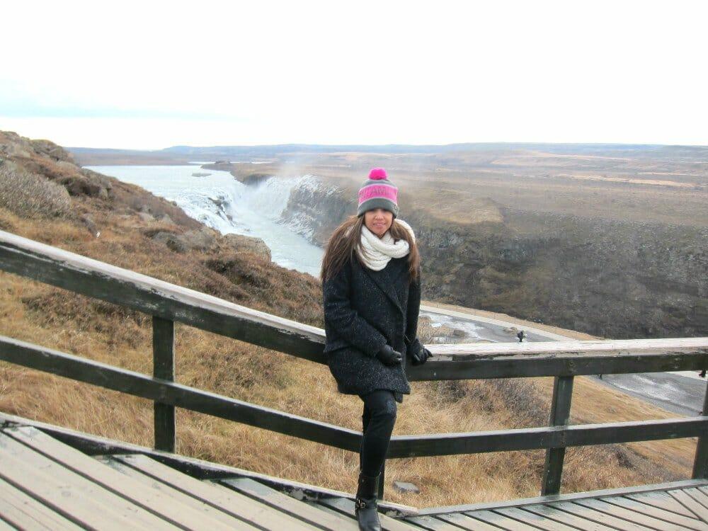 Travel to Iceland in November - Lisa at Gulfoss