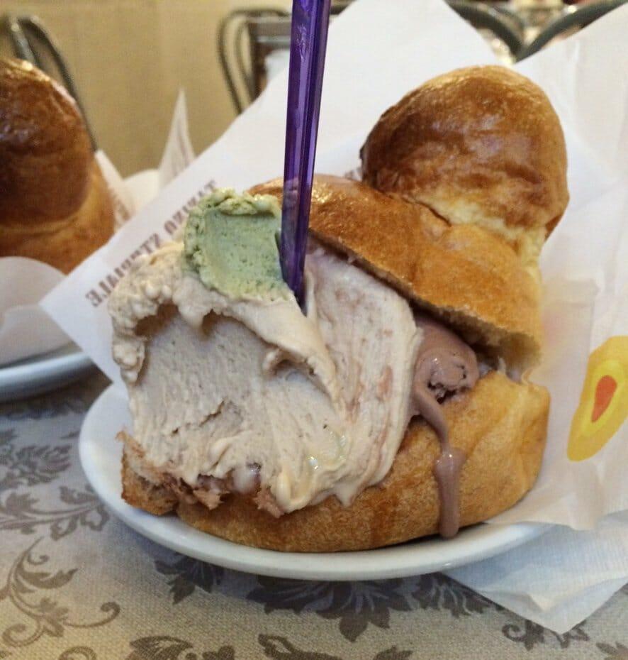 Italy road trip: gelato in a brioche bun