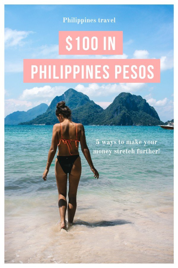 Woman on a beach - $100 in Philippines pesos