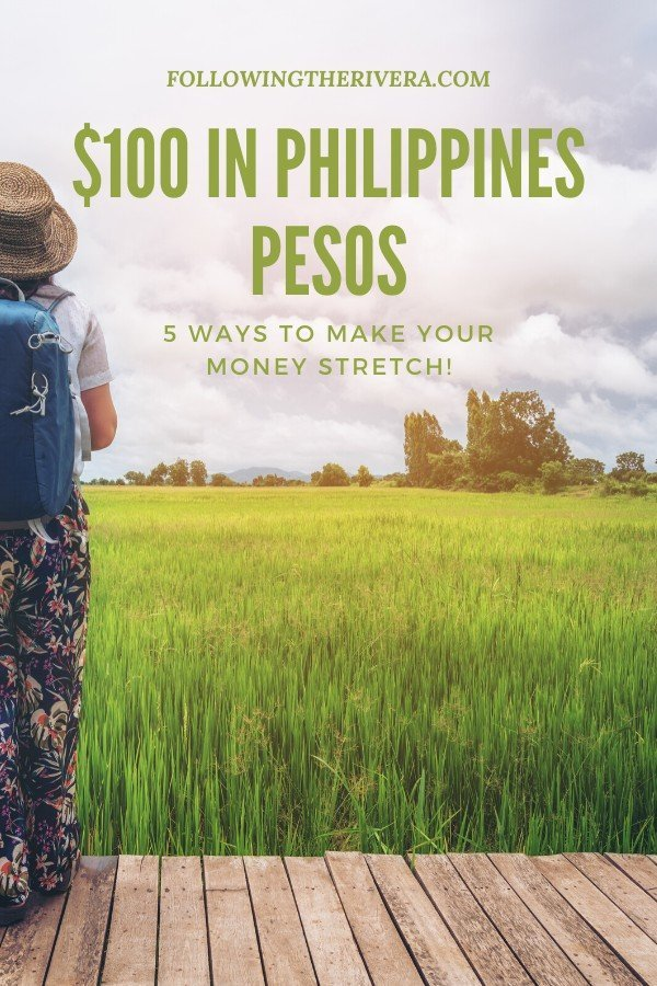 Woman standing in front of a rice field - $100 in Philippines pesos
