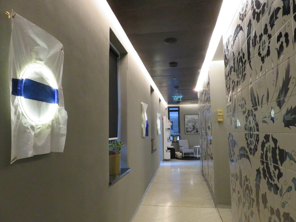 Hallway in a hotel with decorative patterns and designs