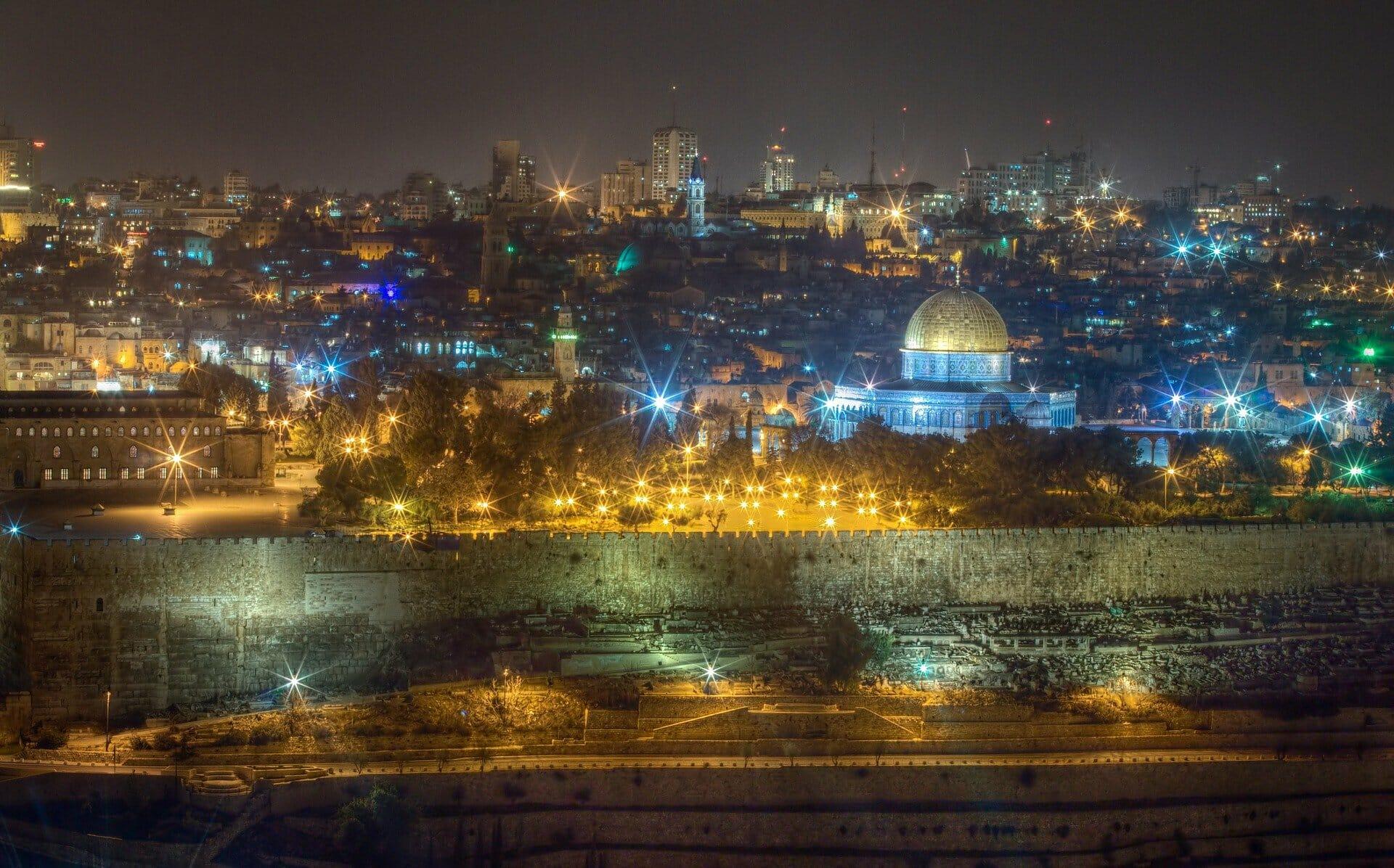 historic sites in Jerusalem - Tower of David at night