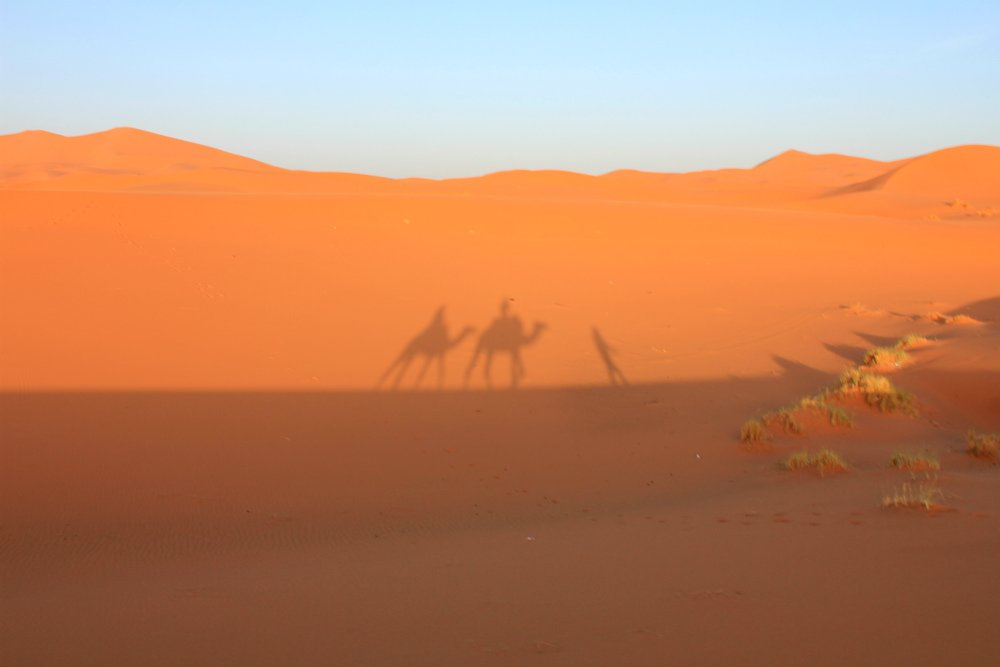 Caravanserai luxury desert camp - silhouette in the sand