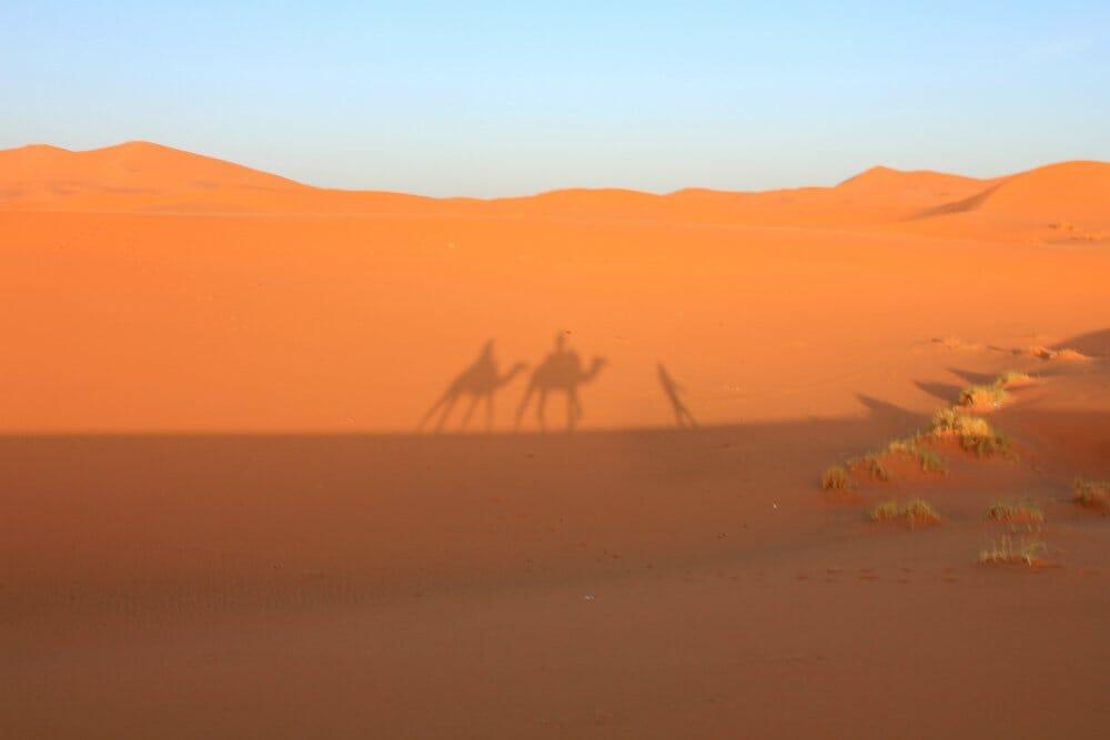 Caravanserai luxury desert camp - silhouette in the sand