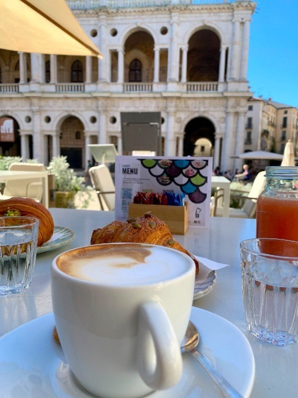Cappuccino and brioche in Vicenza - breakfast in Italy