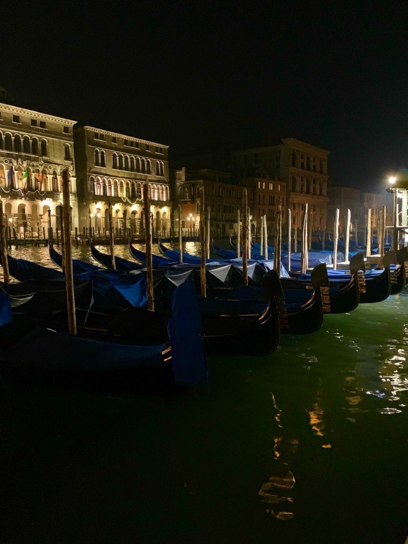 Row of gondolas at night - Venice in winter