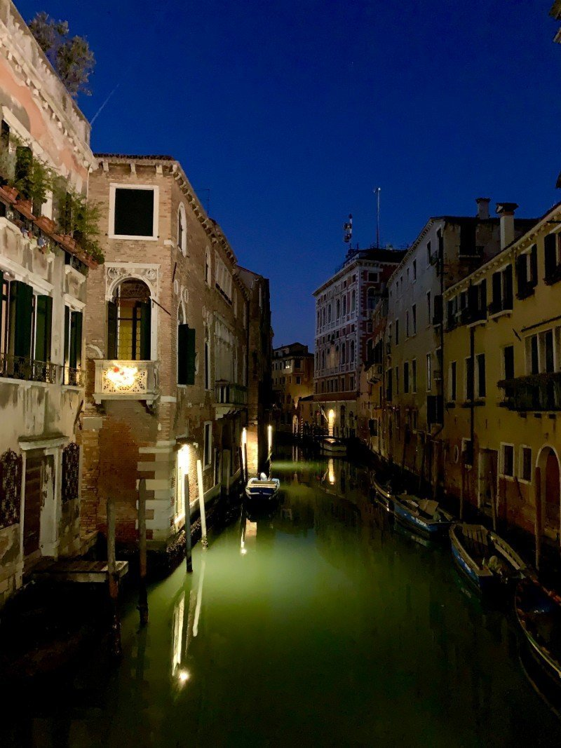 Venice canals at night - Venice in winter