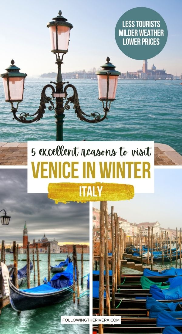Venice in winter - boats on water
