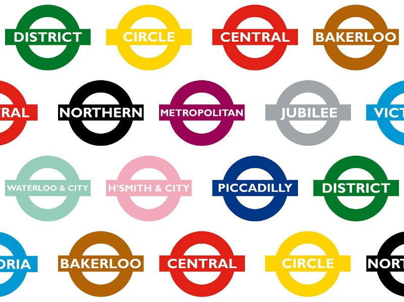 Colors of the London Underground train lines