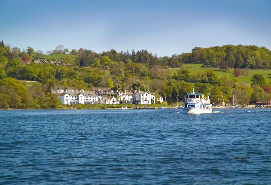 Low Wood Bay from across the lake - a boutique hotel in the Lake District