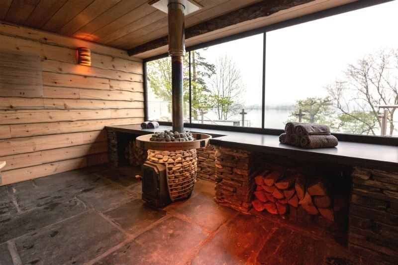 Outdoor sauna at Low Wood Bay Spa