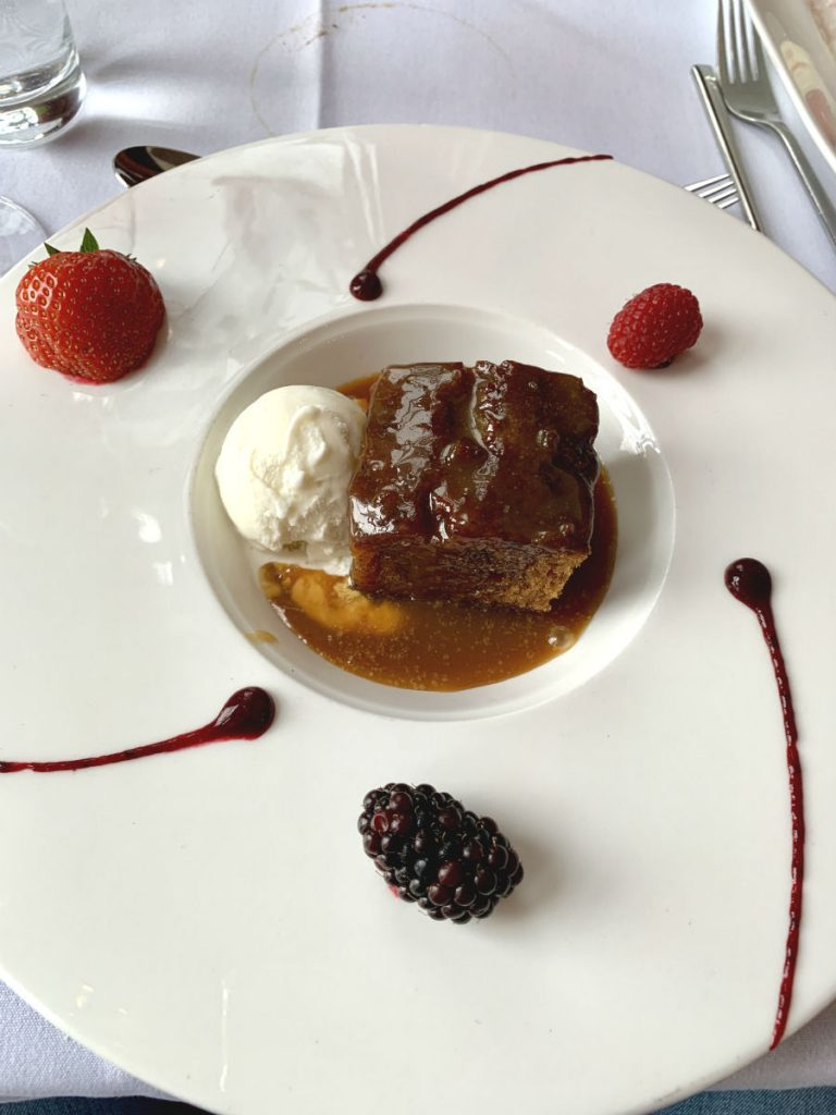Sticky toffee pudding at The Windemere Restaurant