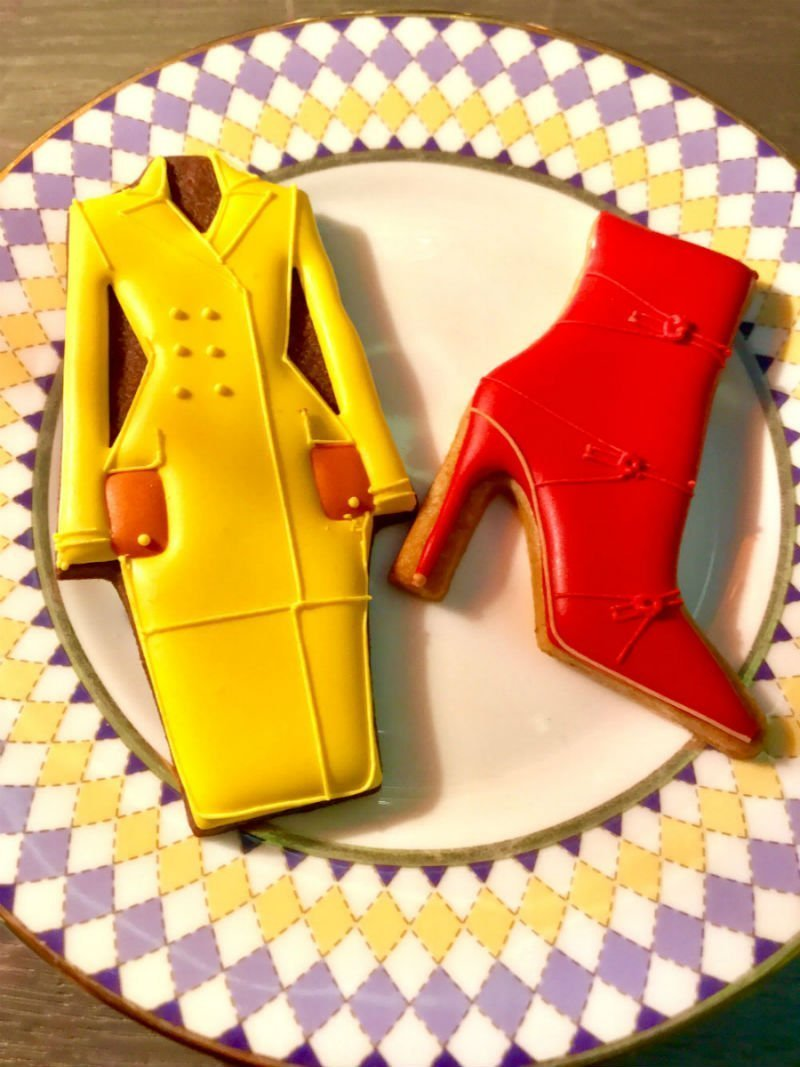 Coat and boot shaped cookies at Pret-a-Portea at The Berkeley