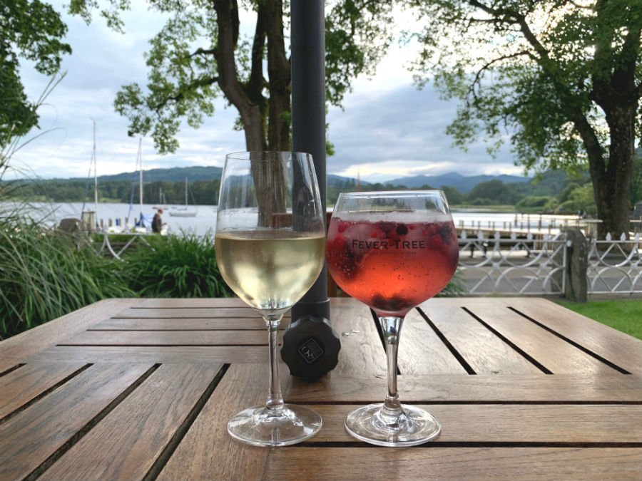 Drinks before dinner at The Waterhead - Where to stay in the Lake District