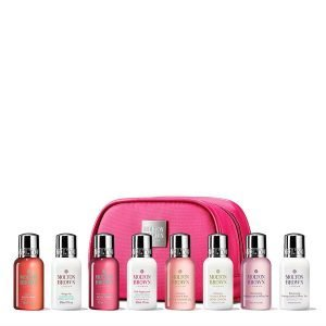 8 travel size mini bottles of shampoo and body lotions - luxury gifts for travelers