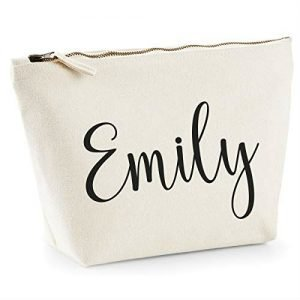 makeup bag with the word Emily on the front - luxury travel gifts