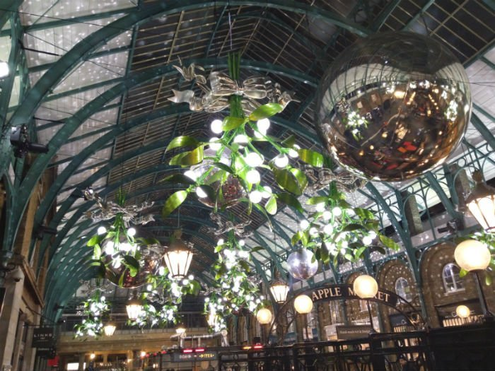 Christmas lights in London - inside Covent Garden market