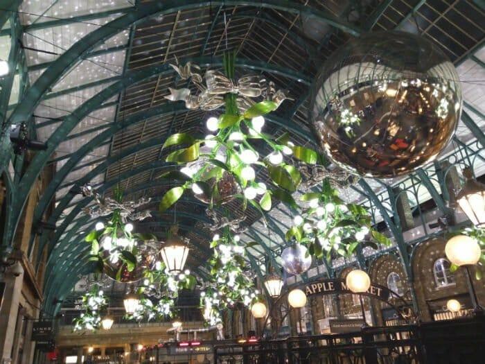 Christmas lights in London - inside Covent Garden market