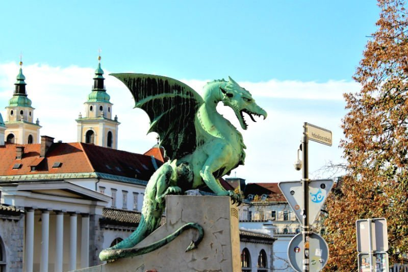 Dragon statue on a bridge