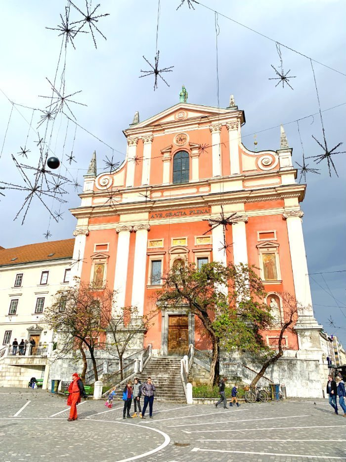 Franciscan church in Ljubljana by day