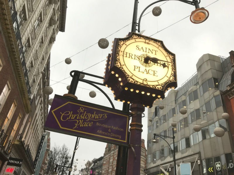 Sign pointing to St Christopher's Place — London Christmas lights
