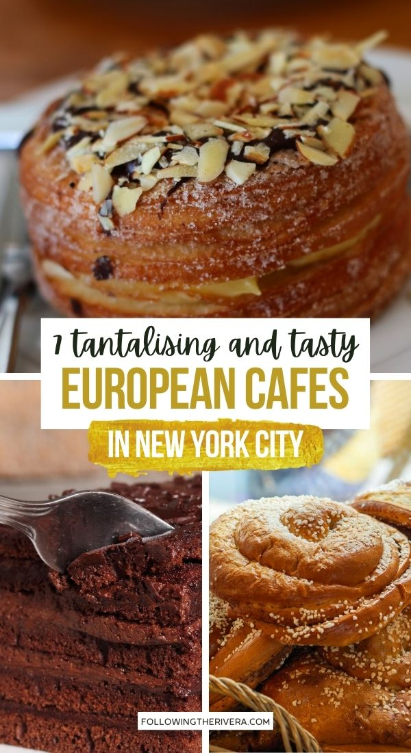 Chocolate cake and cronut - European cafe NYC