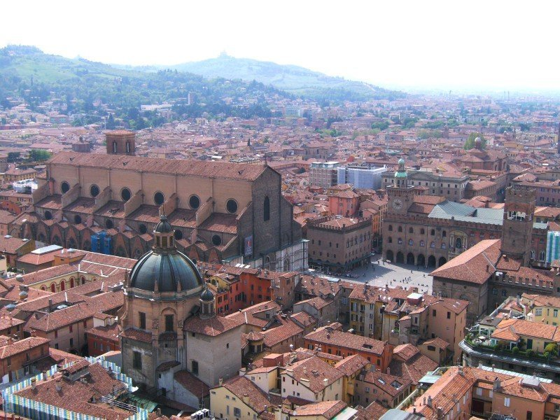 Aerial view of San Petronio and Piazza Maggiore — best travel destinations for food lovers