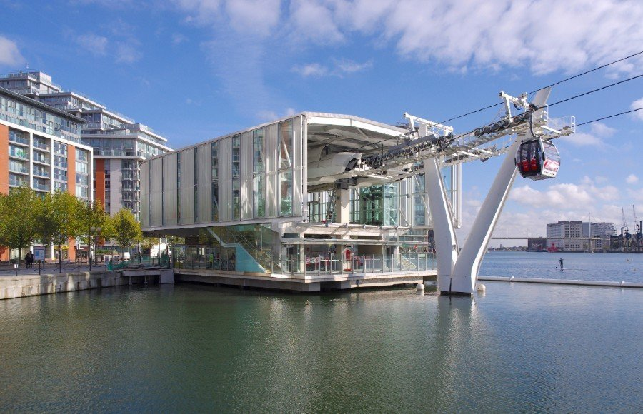 The port of the Emirates cable car — River view hotels London