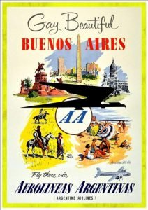 4 drawings of Buenos Aires Argentina - vintage airline posters