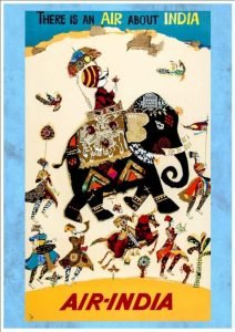 An Indian man riding an elephant - vintage airline posters