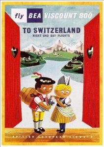2 characters in traditional Swiss clothing with mountains in the background - vintage airline posters
