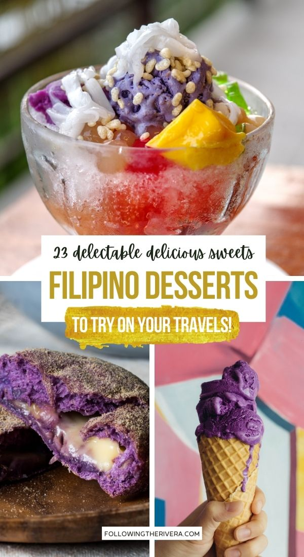 3 photos of Filipino desserts and sweets