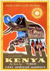 An African elephant with photos of Kenya inside its frame - vintage airline posters