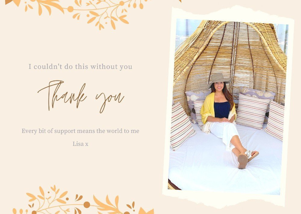 Lisa Rivera sitting in a wooden hanging chair - thank you for signing up
