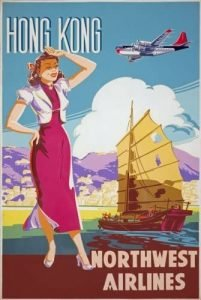 A Chinese woman standing by Hong Kong harbour - vintage airline posters