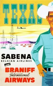 A cowboy with oil rigs in the background - vintage airline posters