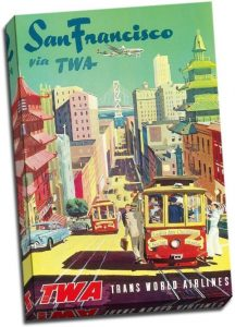 1950s San Francisco TWA - vintage airline posters