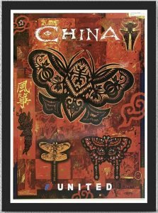 Black butterflies on a red background - vintage airline posters