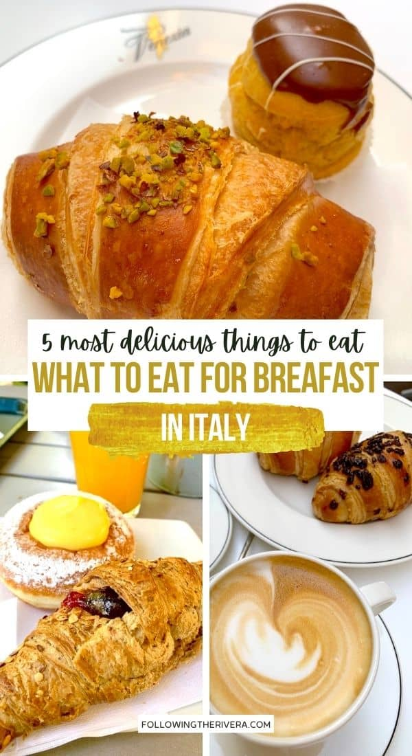Croissants, coffee and bigne - breakfast in Italy