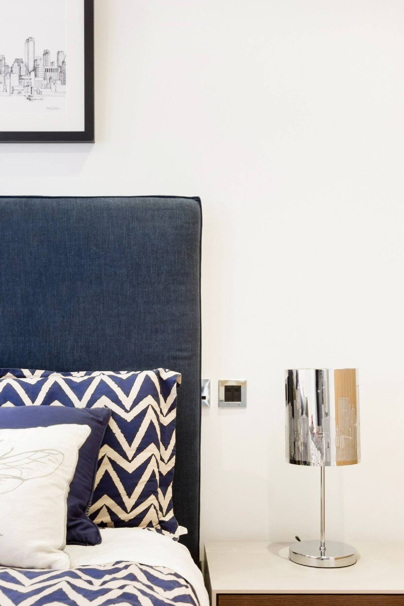 Close up of bedroom in Trafalgar Square Central London Airbnb