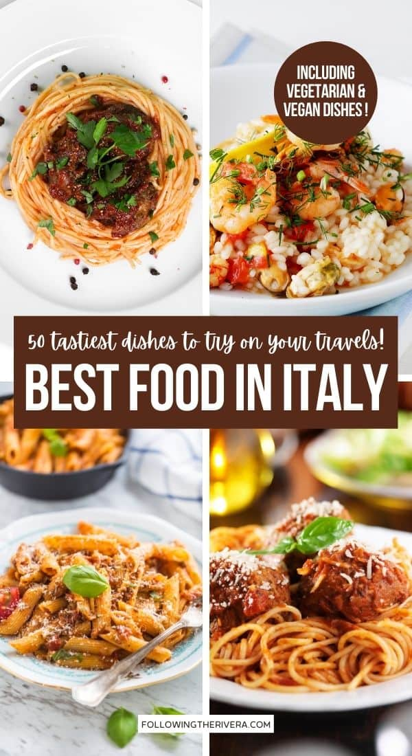 A collage of 4 photos of Italian food - best food in Italy