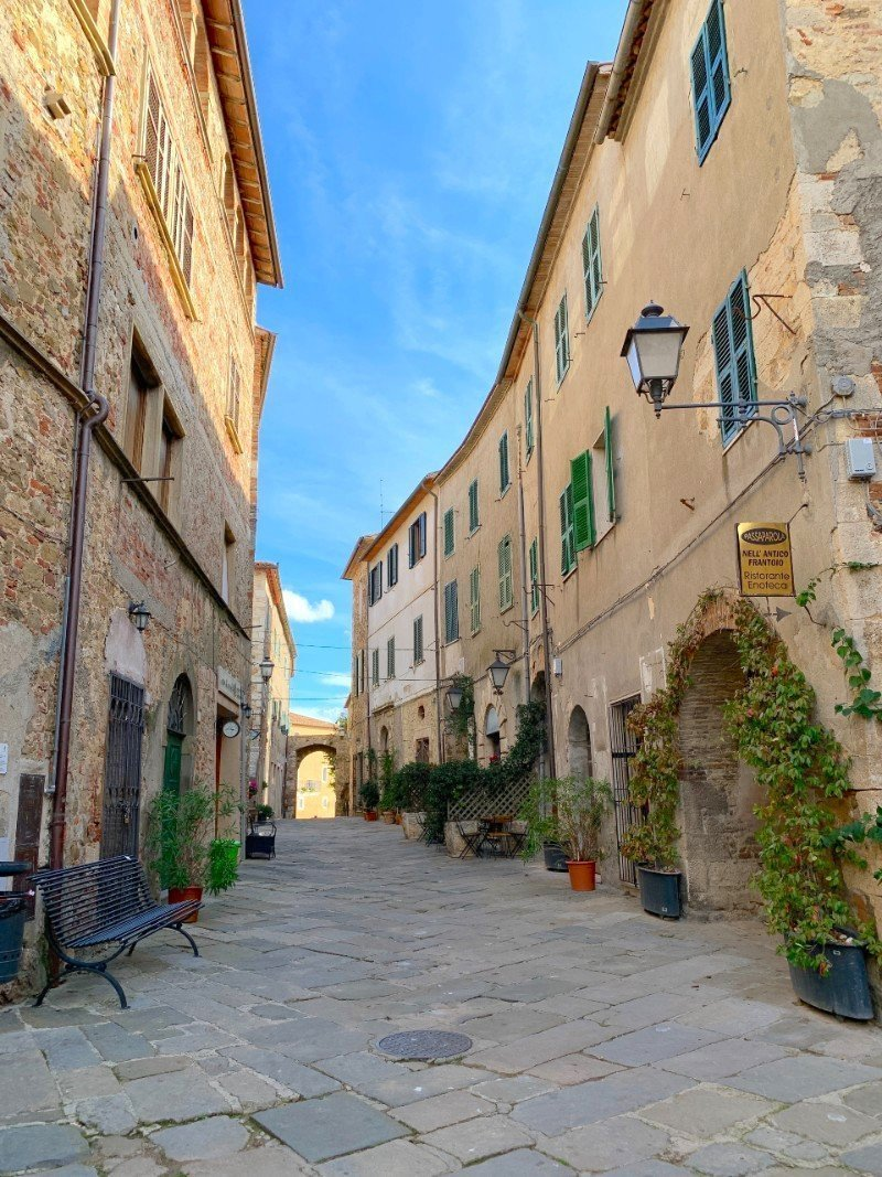 Street in Montemerano Tuscany - a village in Tuscany
