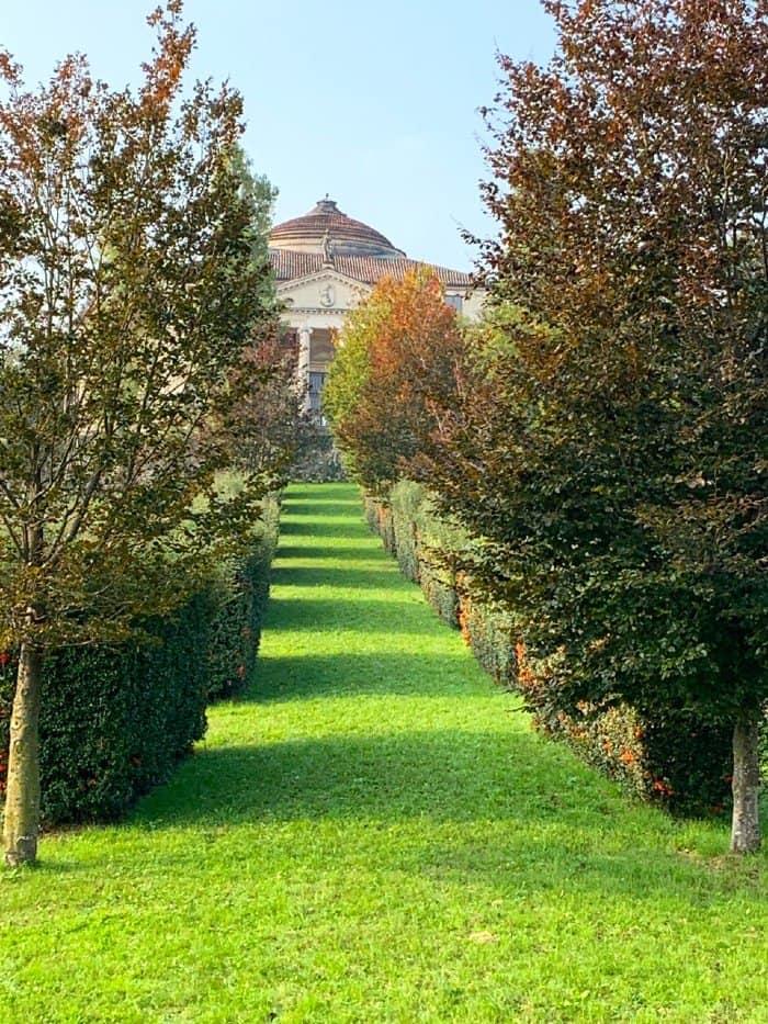 The villa through the trees at Villa Rotonda Vicenza