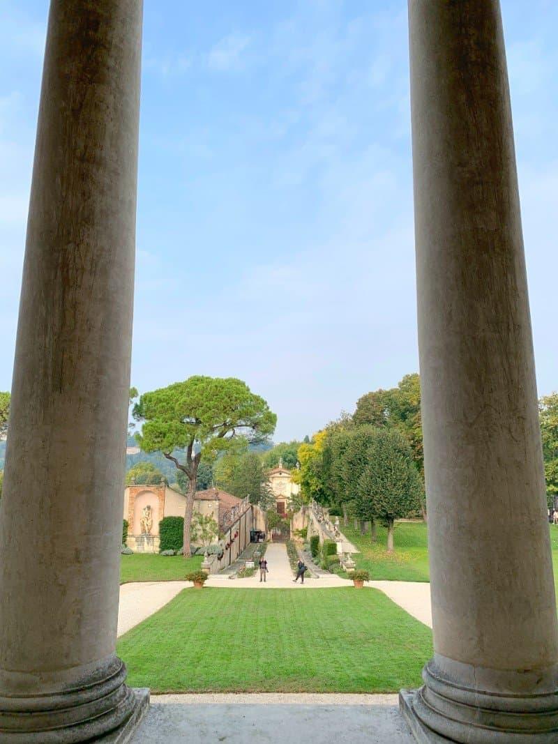 View of gardens and grounds through the columns at Villa Rotonda Vicenza