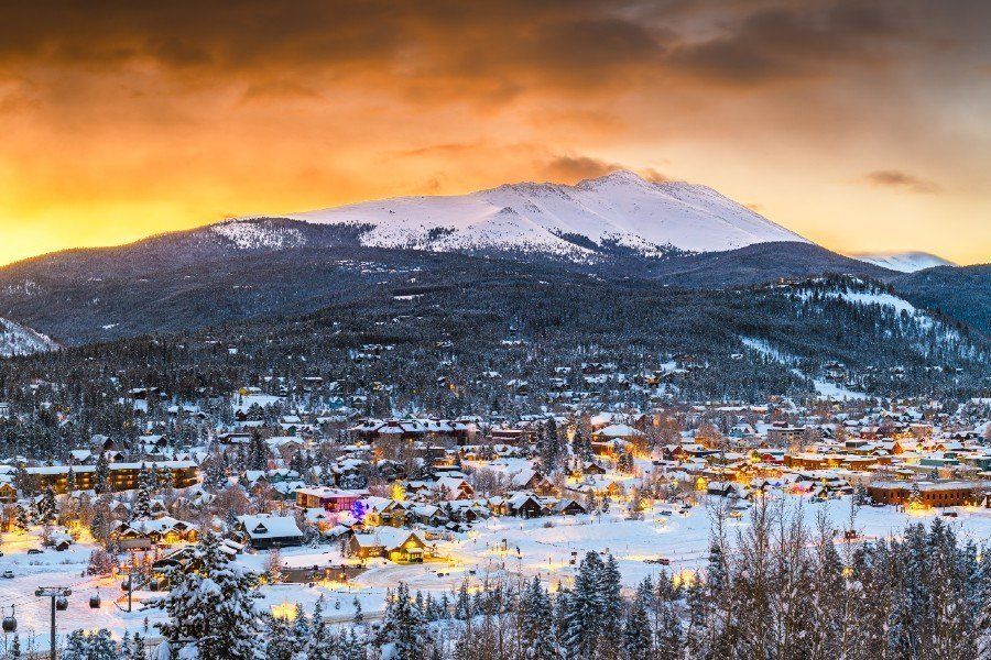 Breckenridge at sunset — places to visit in Colorado in the winter