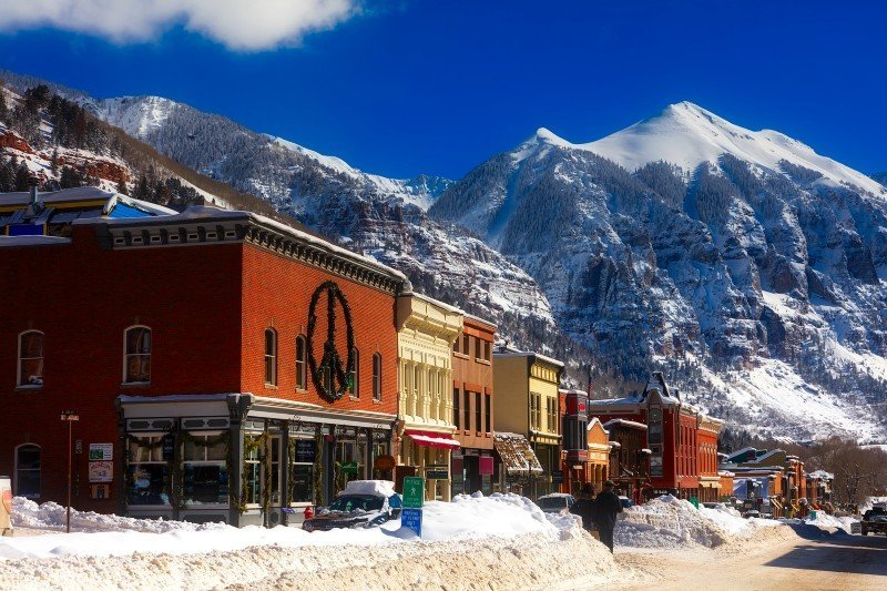 Telluride downtown — places to visit in Colorado in the winter