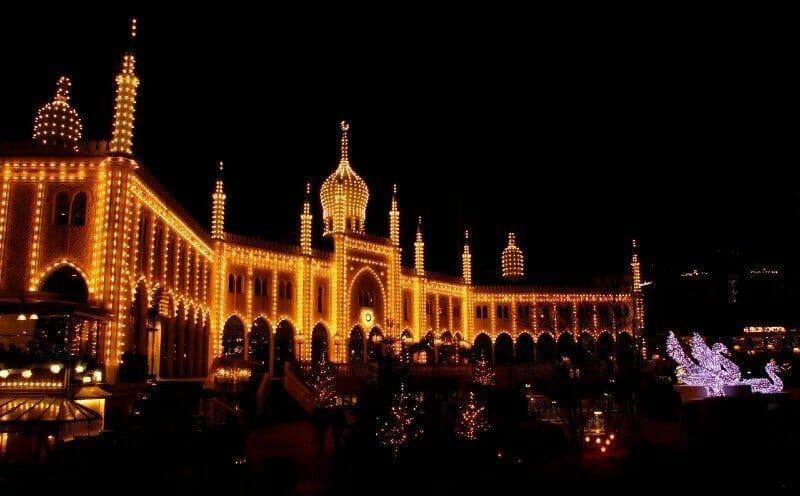 Tivoli Garden at night Copenhagen — best Christmas cities in Europe