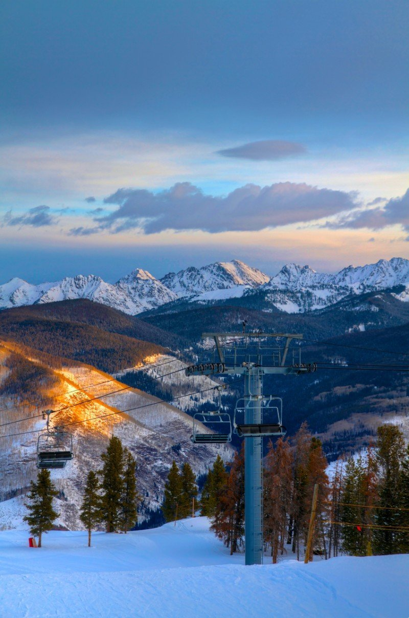 View from Vail Ski resort at sunrise — places to visit in Colorado in the winter