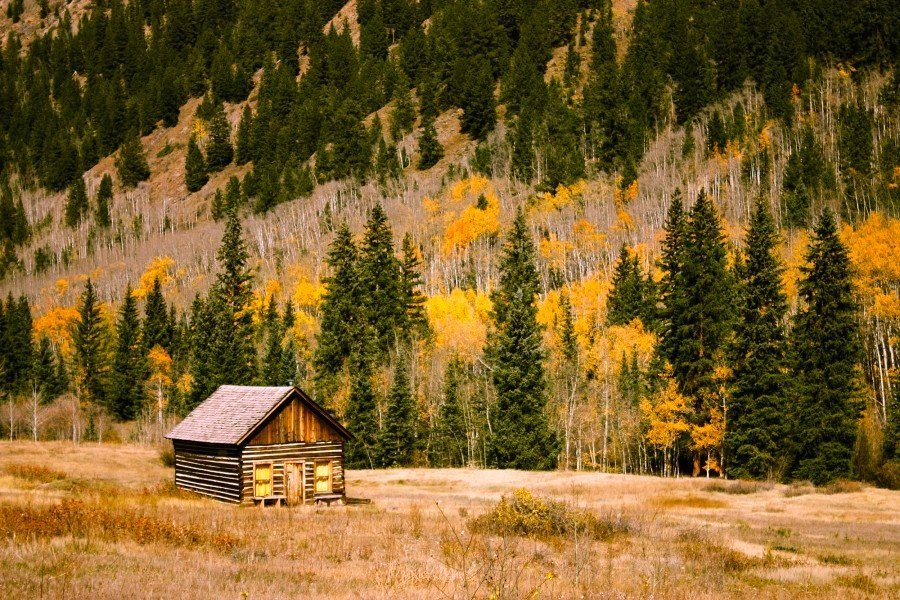 log cabin in rural landscape - log cabins in Colorado